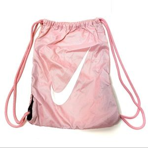 Nike pink drawstring bag with recycled cording